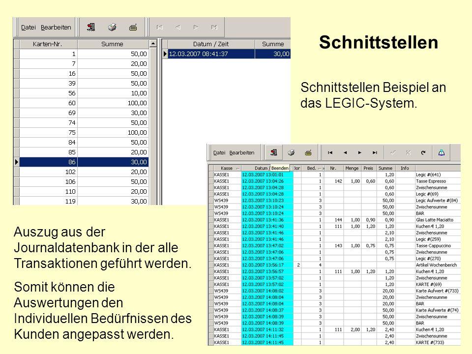 Schnittstellen Schnittstellen Beispiel an das LEGIC-System.