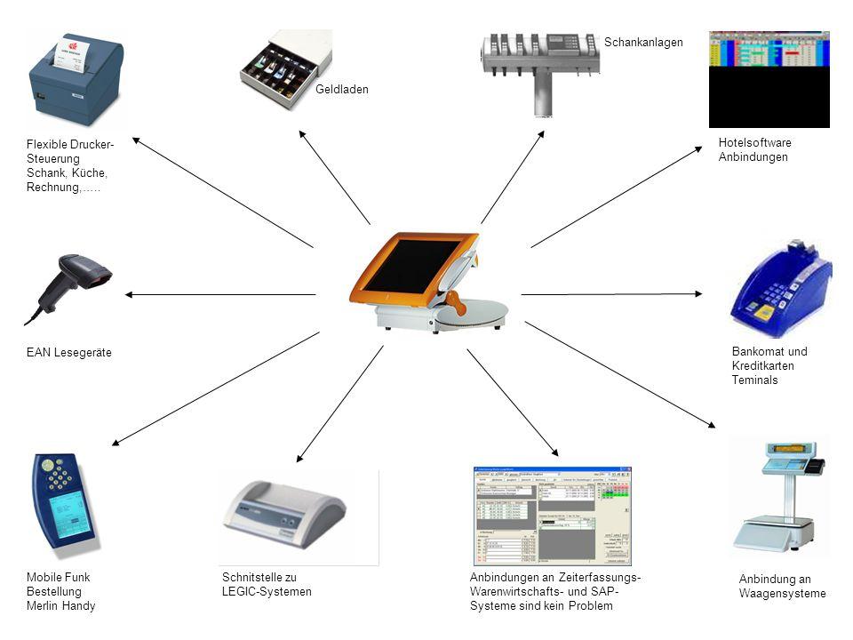 Schankanlagen Geldladen. Flexible Drucker-Steuerung. Schank, Küche, Rechnung,….. Hotelsoftware Anbindungen.