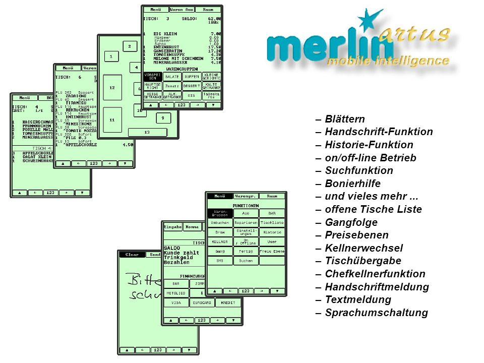 – Blättern – Handschrift-Funktion. – Historie-Funktion. – on/off-line Betrieb. – Suchfunktion. – Bonierhilfe.