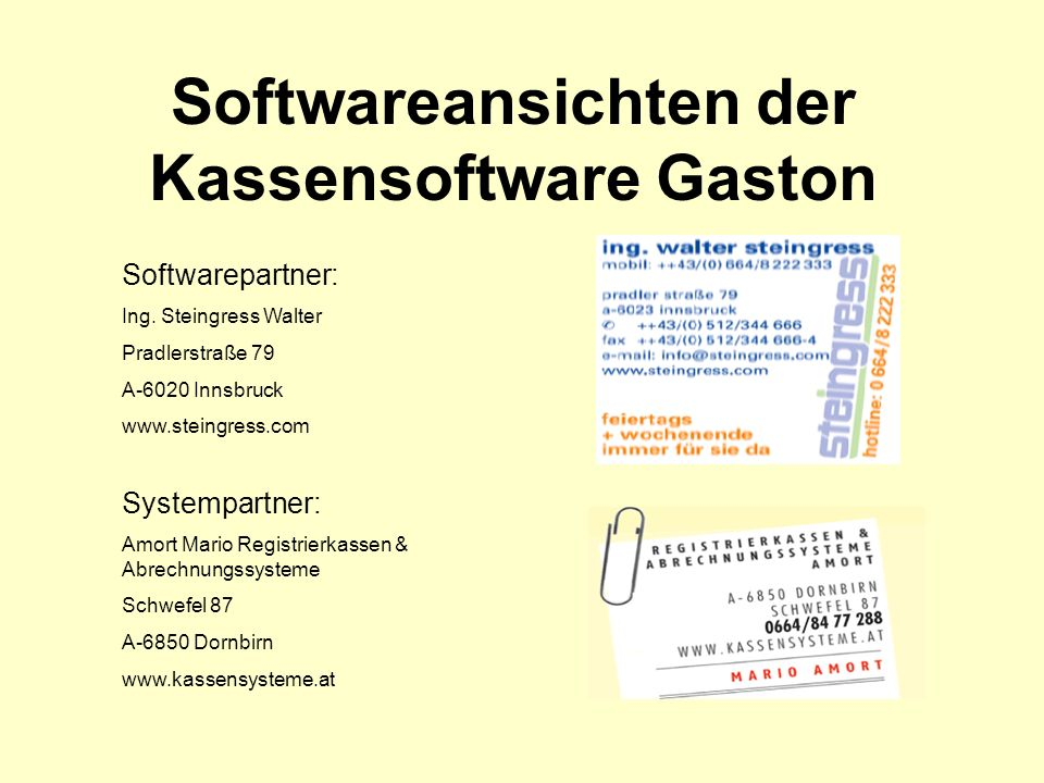 Softwareansichten der Kassensoftware Gaston