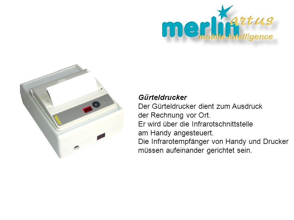 Gürteldrucker Der Gürteldrucker dient zum Ausdruck. der Rechnung vor Ort. Er wird über die Infrarotschnittstelle.
