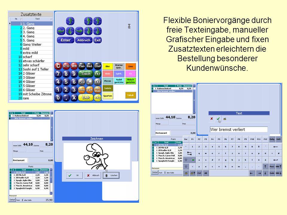 Flexible Boniervorgänge durch freie Texteingabe, manueller Grafischer Eingabe und fixen Zusatztexten erleichtern die Bestellung besonderer Kundenwünsche.