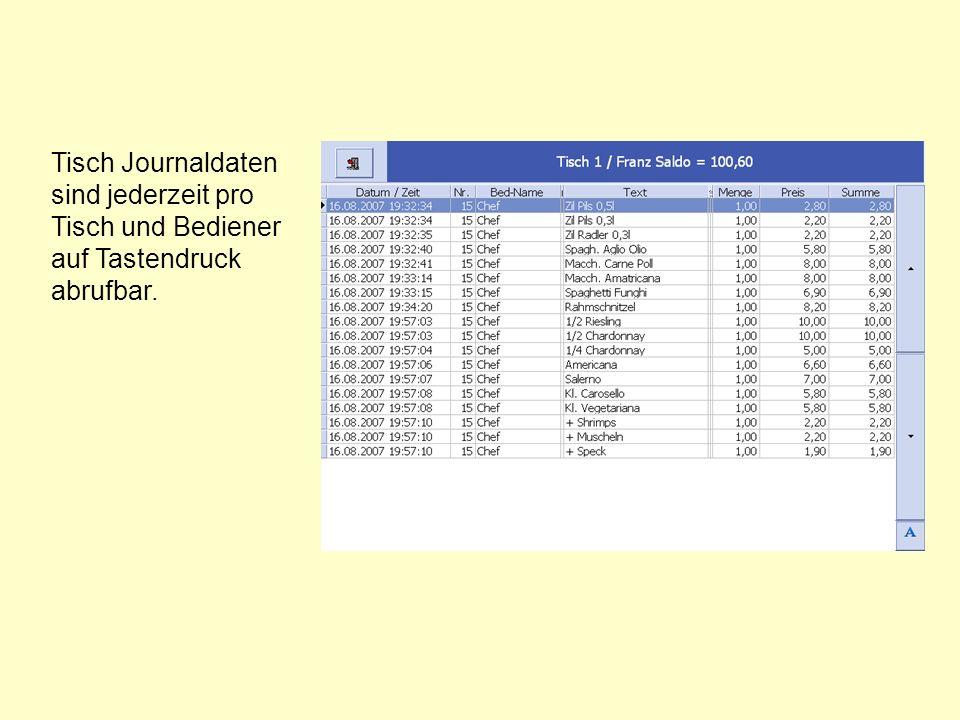 Tisch Journaldaten sind jederzeit pro Tisch und Bediener auf Tastendruck abrufbar.