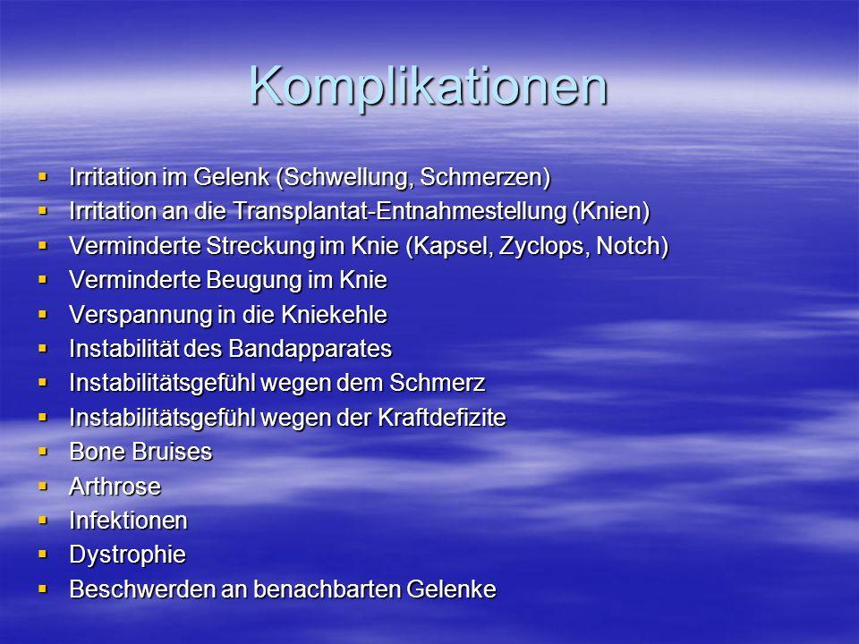 Komplikationen Irritation im Gelenk (Schwellung, Schmerzen)