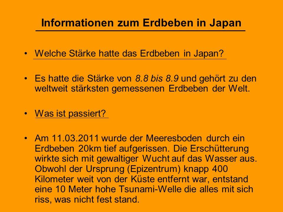 Informationen zum Erdbeben in Japan
