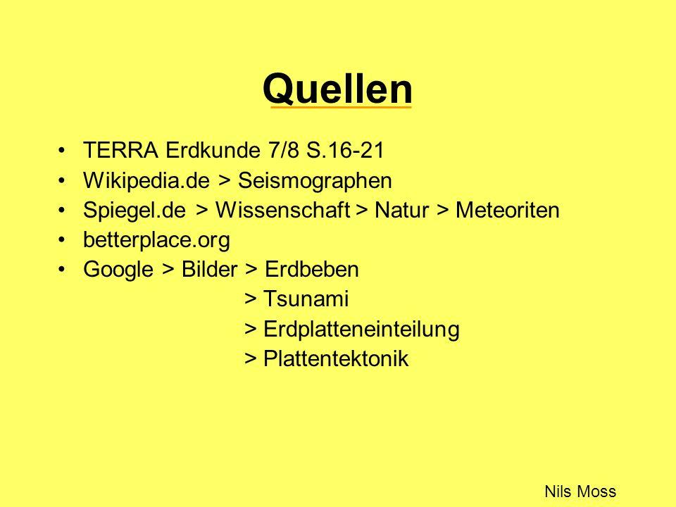 Quellen Nils Moss TERRA Erdkunde 7/8 S.16-21