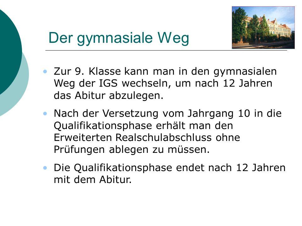 Der gymnasiale Weg Zur 9. Klasse kann man in den gymnasialen Weg der IGS wechseln, um nach 12 Jahren das Abitur abzulegen.