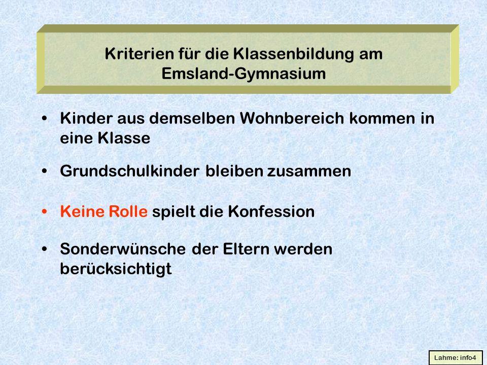 Kriterien für die Klassenbildung am Emsland-Gymnasium