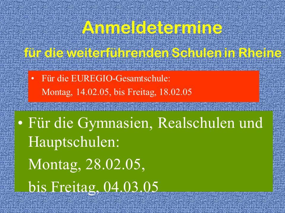 für die weiterführenden Schulen in Rheine