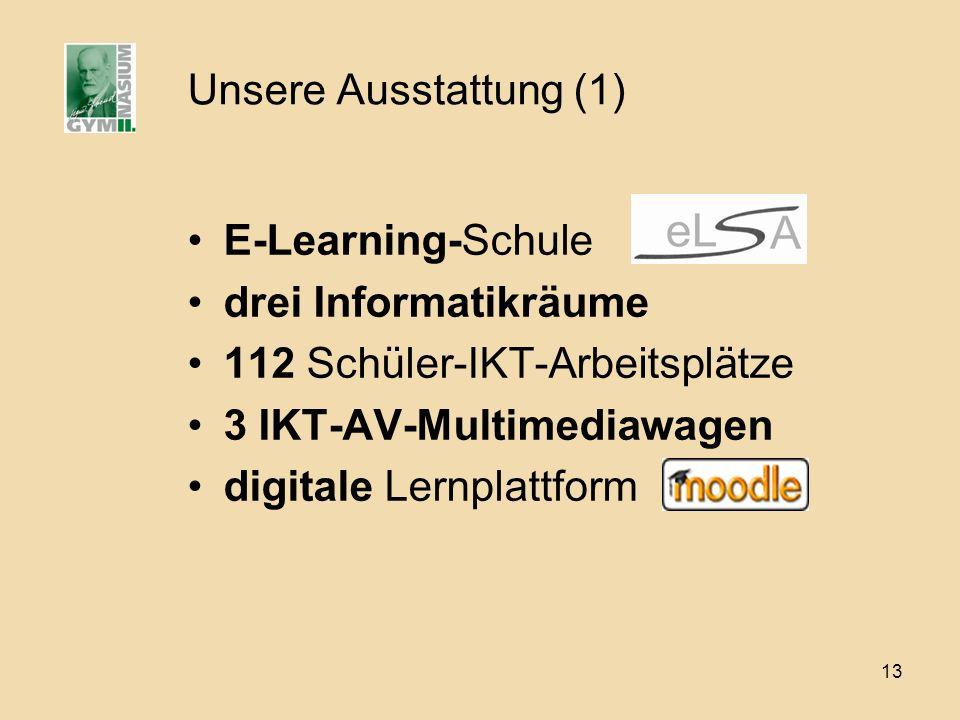 Unsere Ausstattung (1) E-Learning-Schule. drei Informatikräume. 112 Schüler-IKT-Arbeitsplätze. 3 IKT-AV-Multimediawagen.