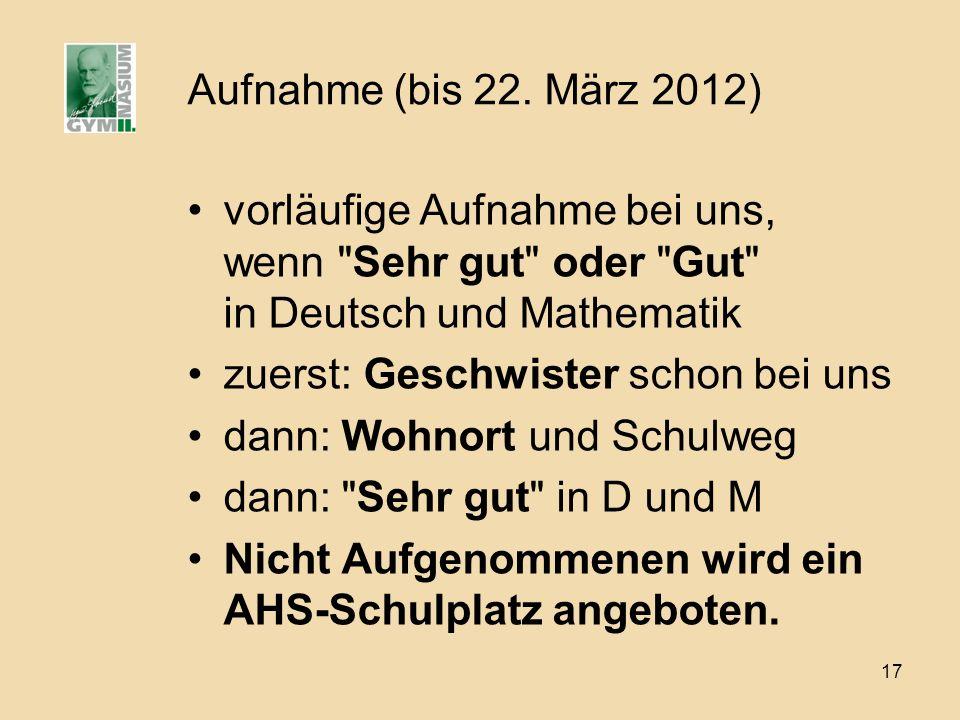 Aufnahme (bis 22. März 2012) vorläufige Aufnahme bei uns, wenn Sehr gut oder Gut in Deutsch und Mathematik.