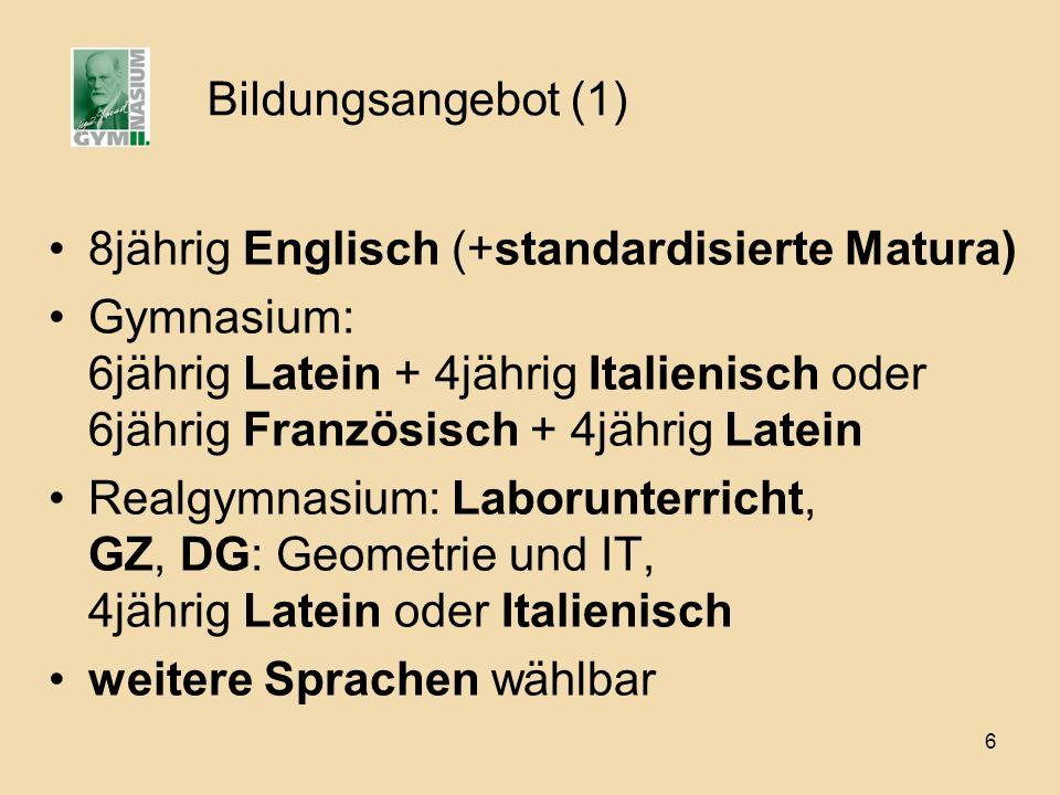 Bildungsangebot (1) 8jährig Englisch (+standardisierte Matura)