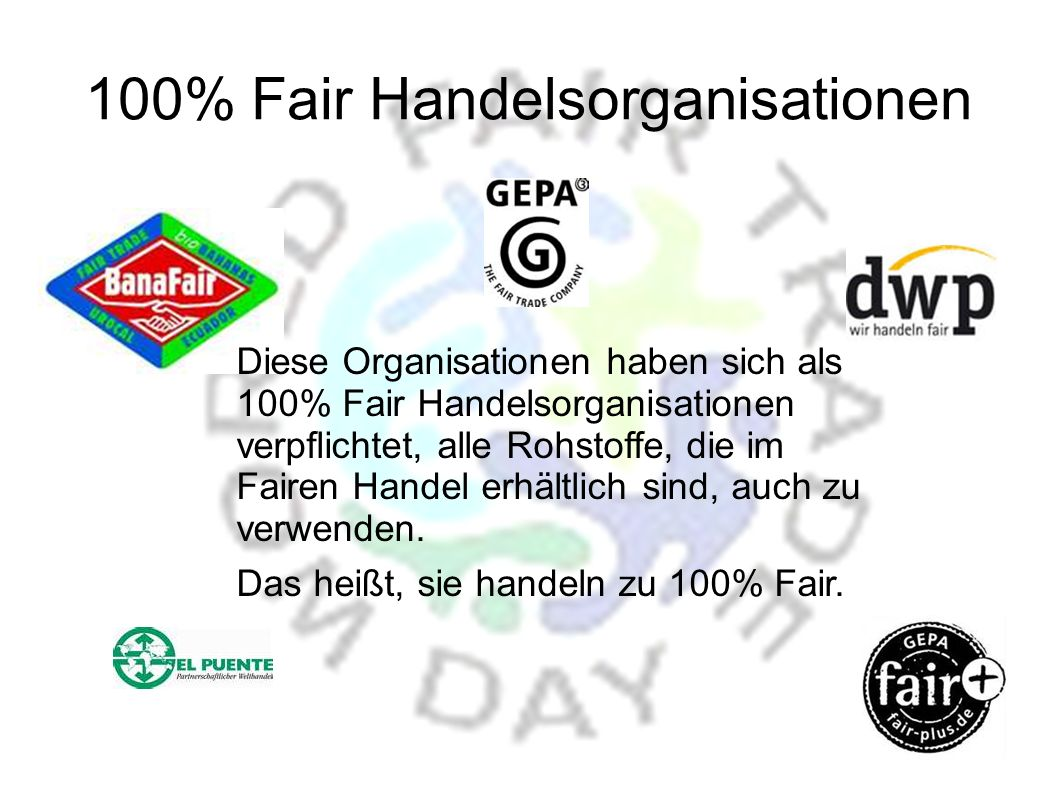 100% Fair Handelsorganisationen