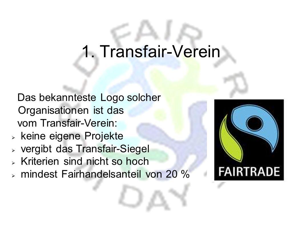 1. Transfair-Verein Das bekannteste Logo solcher Organisationen ist das. vom Transfair-Verein: keine eigene Projekte.