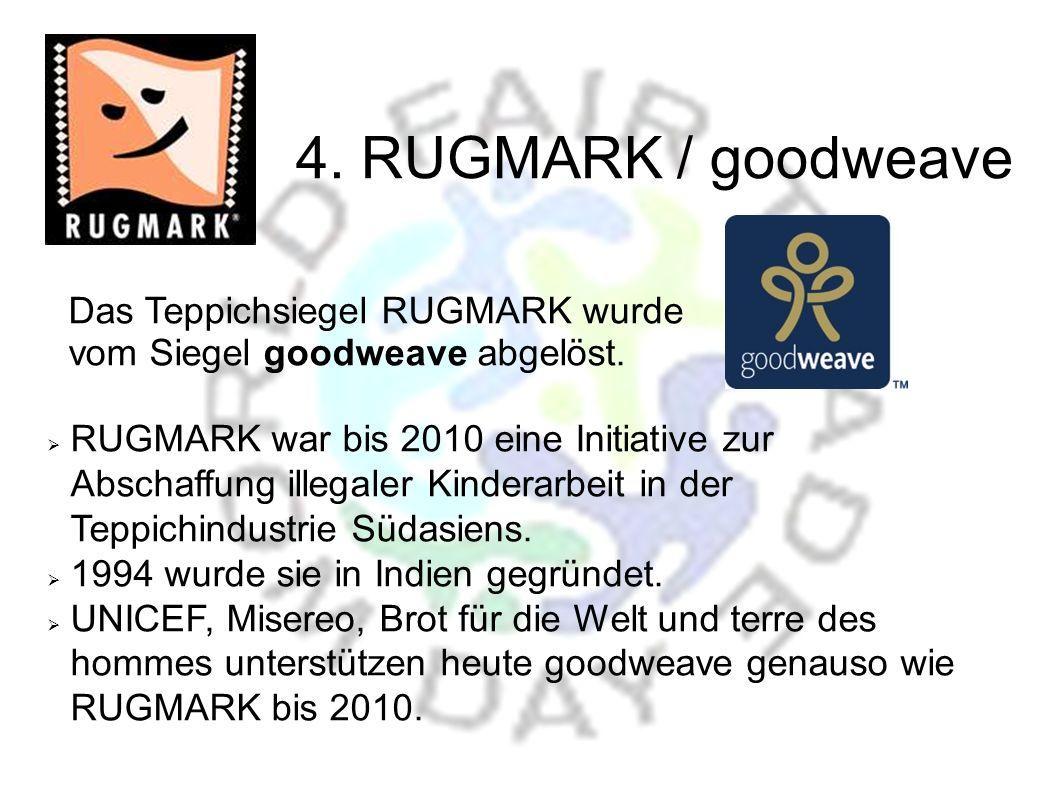 4. RUGMARK / goodweave Das Teppichsiegel RUGMARK wurde