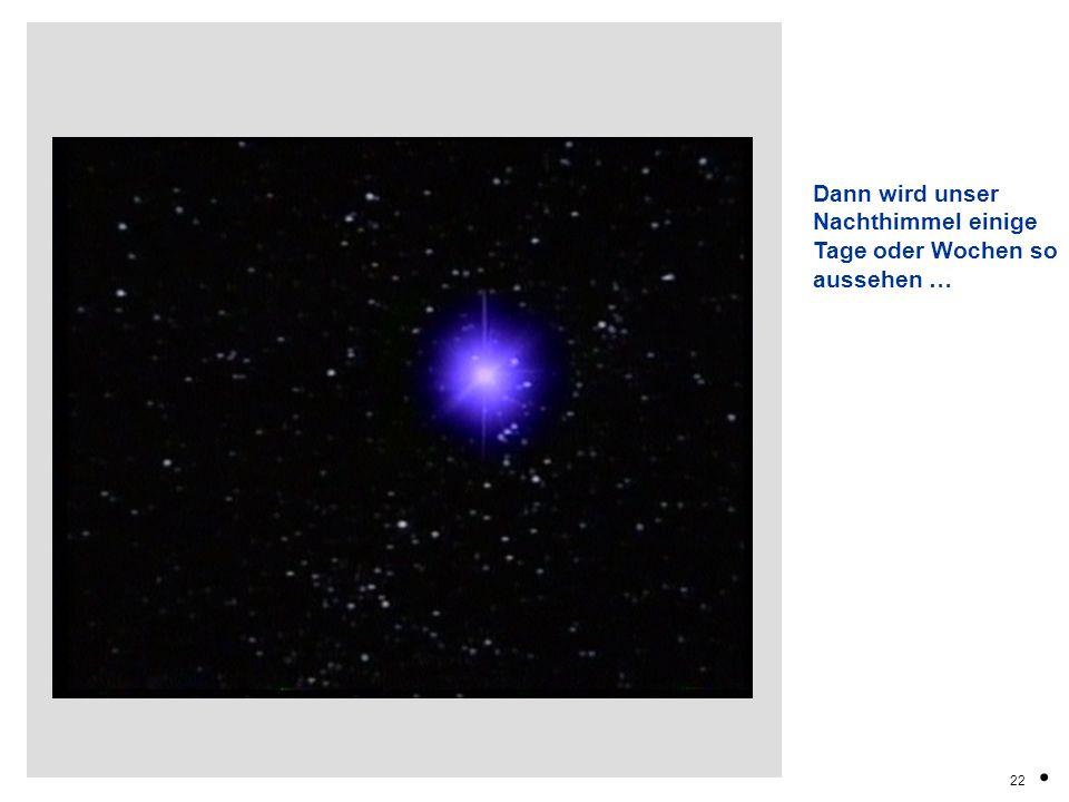 Dann wird unser Nachthimmel einige Tage oder Wochen so aussehen …