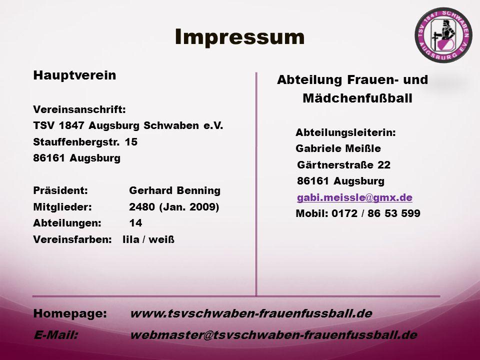 Impressum Abteilung Frauen- und Hauptverein Mädchenfußball