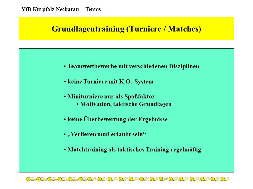 Grundlagentraining (Turniere / Matches)