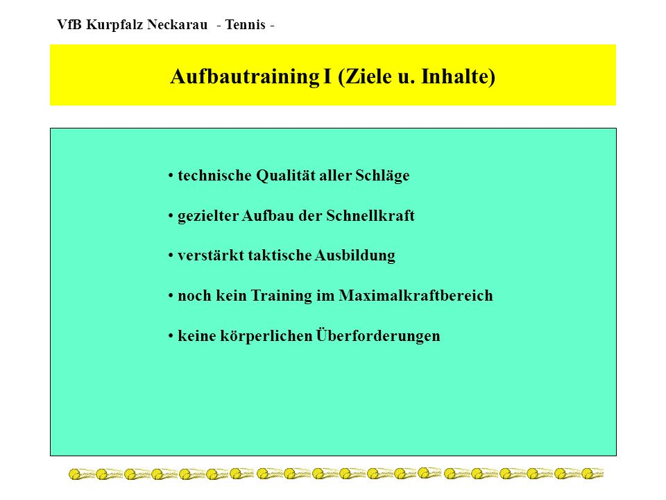 Aufbautraining I (Ziele u. Inhalte)