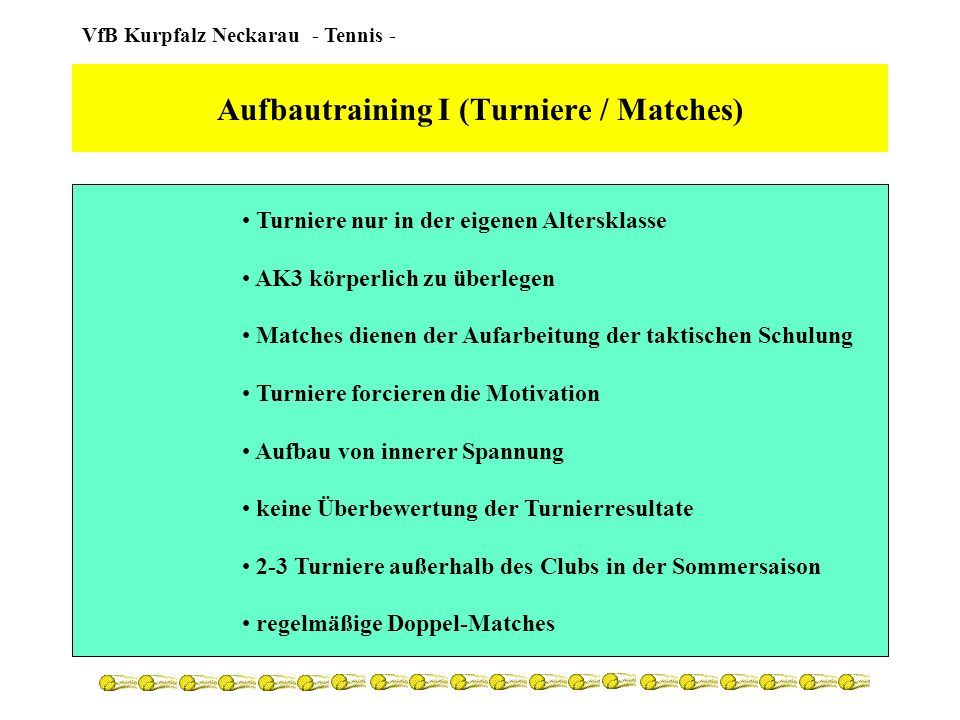 Aufbautraining I (Turniere / Matches)