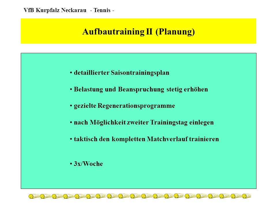 Aufbautraining II (Planung)