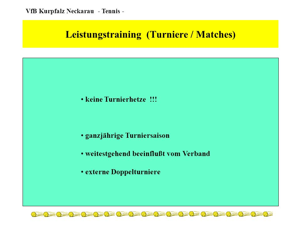 Leistungstraining (Turniere / Matches)