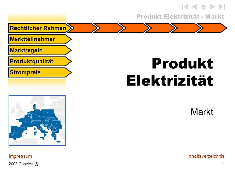 Produkt Elektrizität Markt Rechtlicher Rahmen Marktteilnehmer