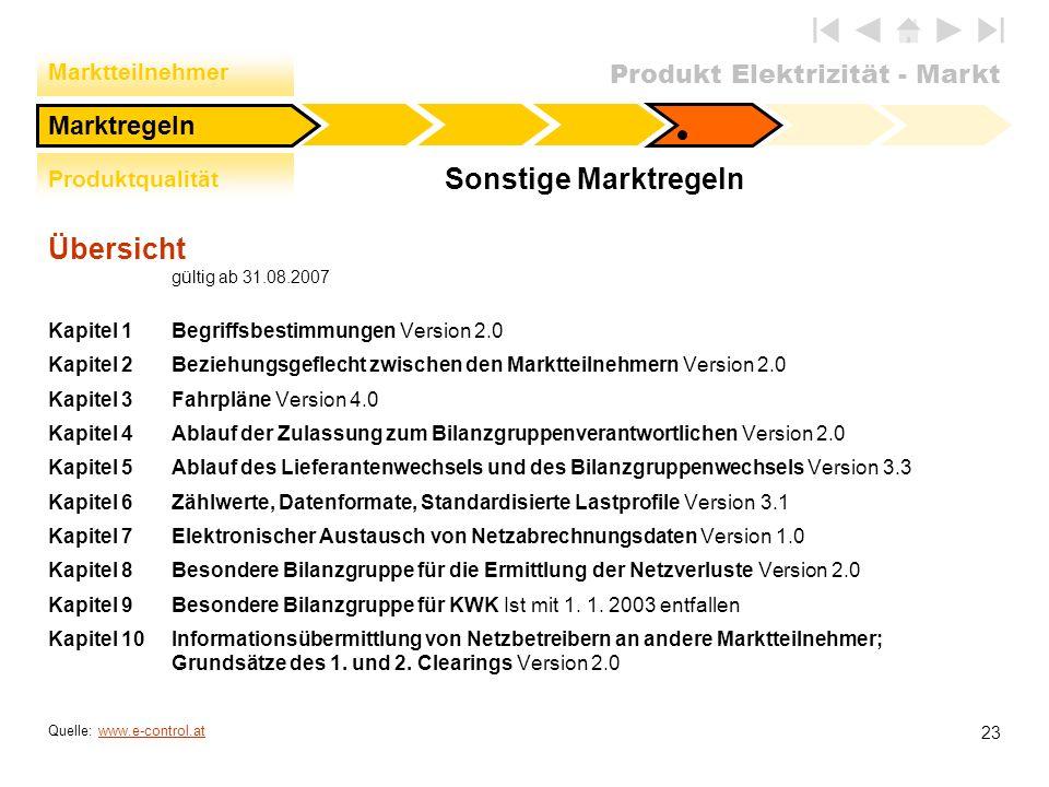 Sonstige Marktregeln Übersicht gültig ab 31.08.2007 Marktregeln
