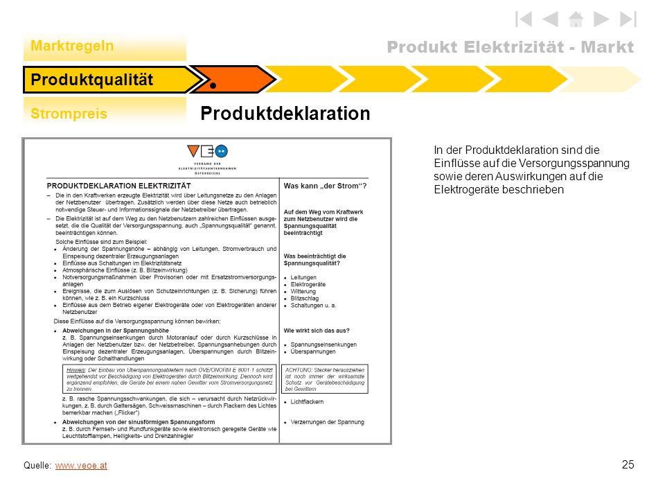Produktdeklaration Produktqualität Marktregeln Strompreis