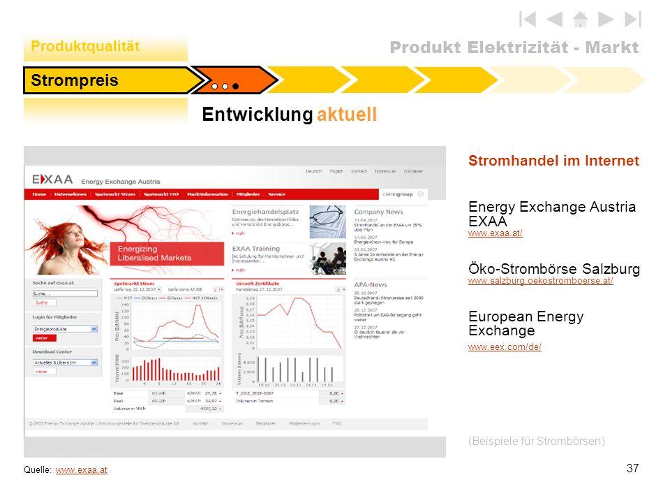 Entwicklung aktuell Strompreis Produktqualität Stromhandel im Internet