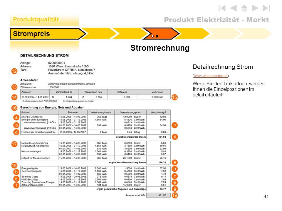 Stromrechnung Strompreis Produktqualität Detailrechnung Strom