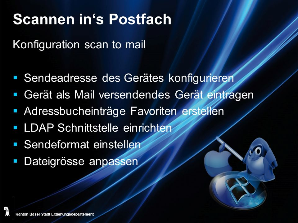 Scannen in's Postfach Konfiguration scan to mail