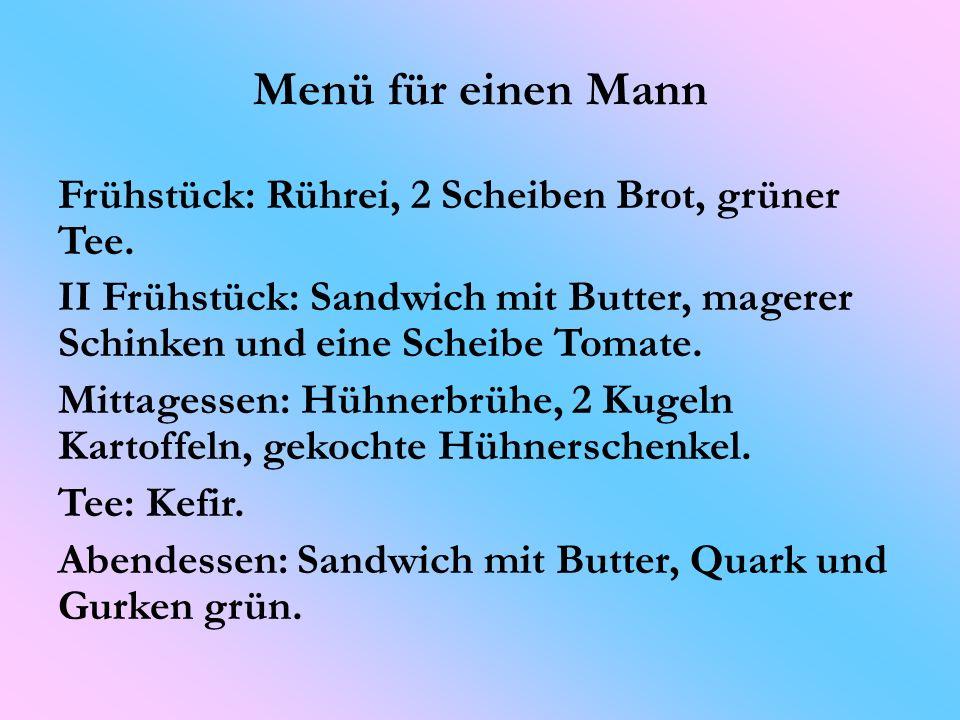 Menü für einen Mann Frühstück: Rührei, 2 Scheiben Brot, grüner Tee.