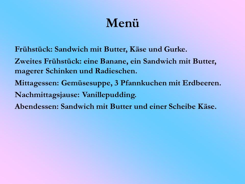 Menü Frühstück: Sandwich mit Butter, Käse und Gurke.