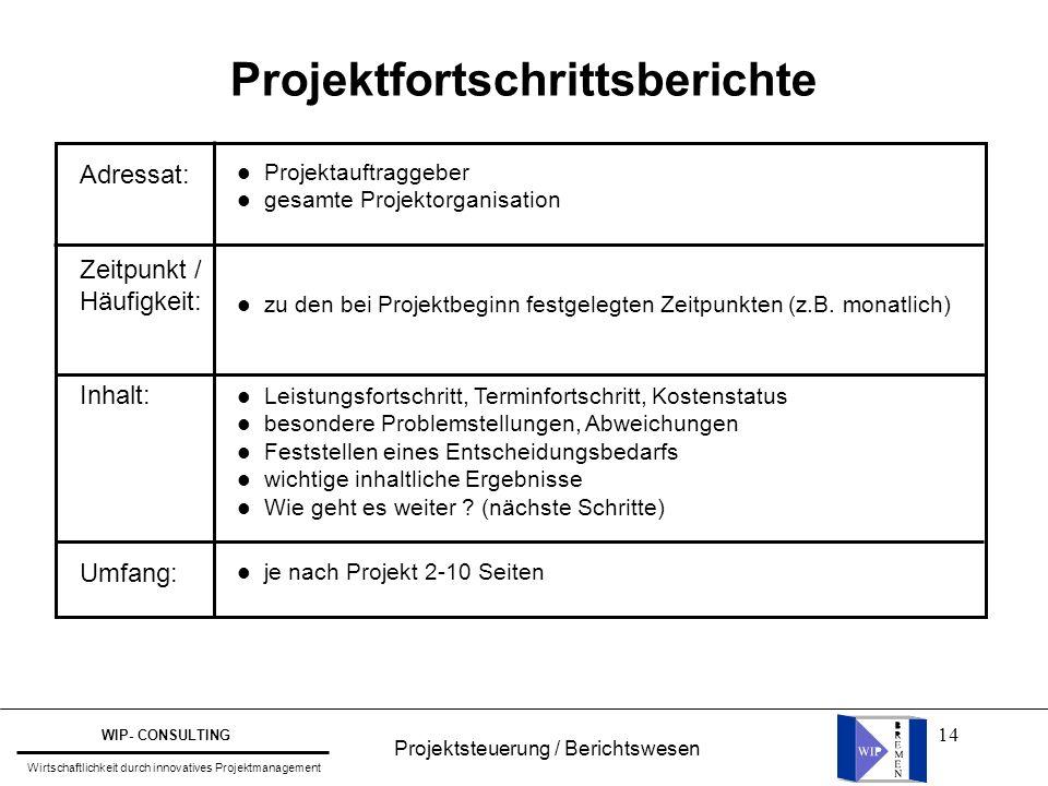 Projektfortschrittsberichte