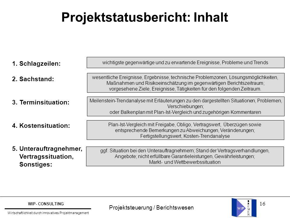 Projektstatusbericht: Inhalt
