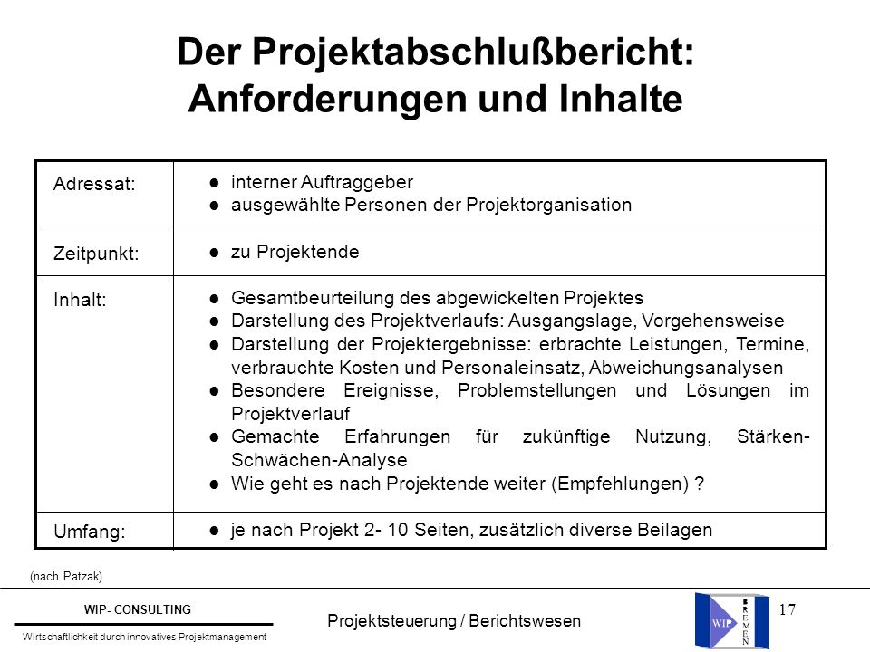 Der Projektabschlußbericht: Anforderungen und Inhalte