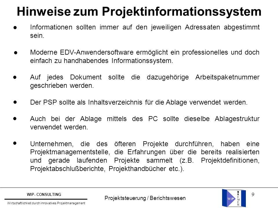 Hinweise zum Projektinformationssystem