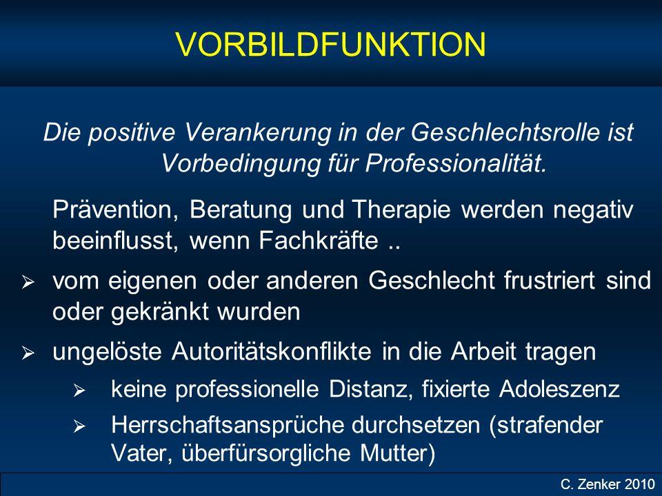VORBILDFUNKTION Die positive Verankerung in der Geschlechtsrolle ist Vorbedingung für Professionalität.