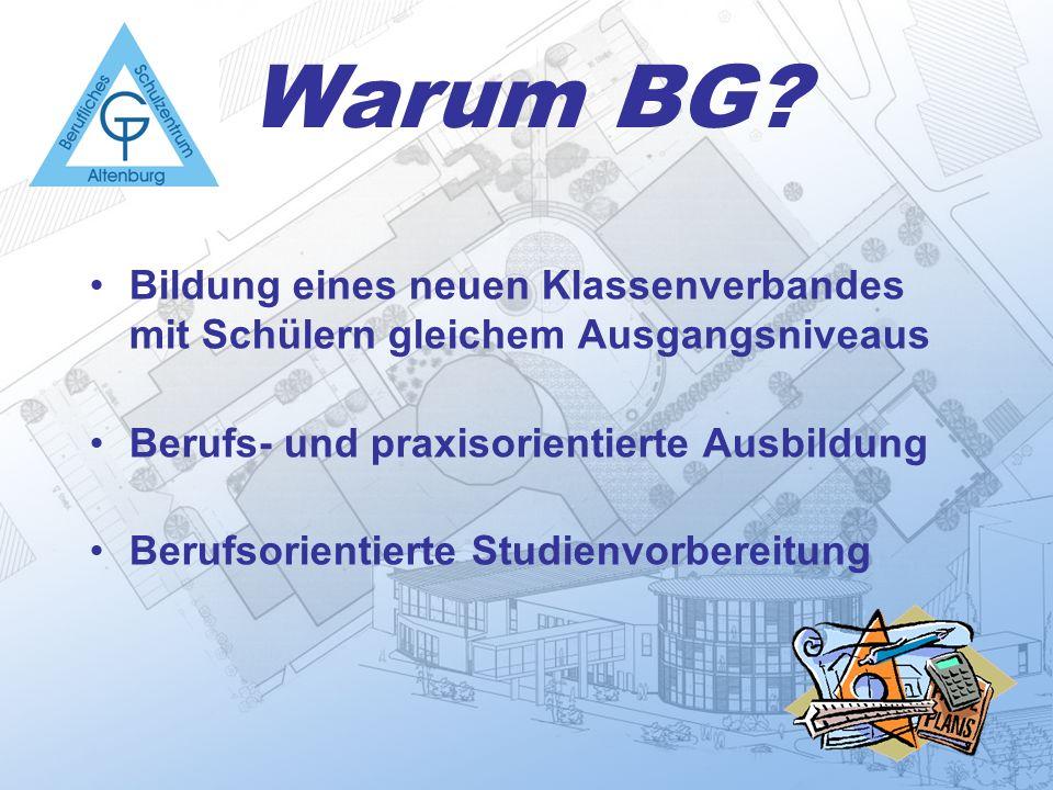 Warum BG Bildung eines neuen Klassenverbandes mit Schülern gleichem Ausgangsniveaus. Berufs- und praxisorientierte Ausbildung.