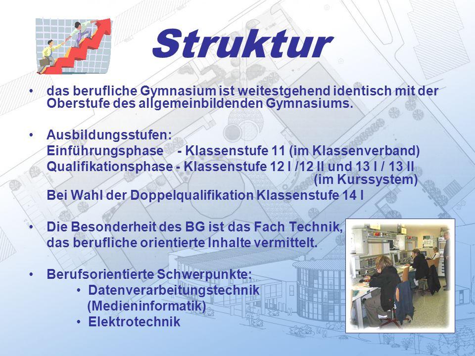 Struktur das berufliche Gymnasium ist weitestgehend identisch mit der Oberstufe des allgemeinbildenden Gymnasiums.