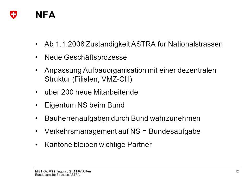 NFA Ab 1.1.2008 Zuständigkeit ASTRA für Nationalstrassen