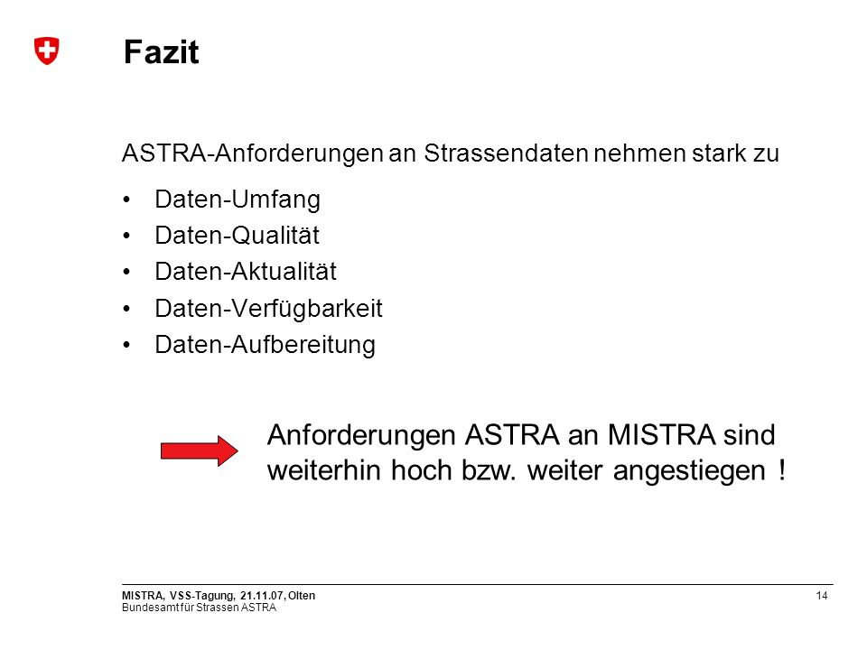 Fazit ASTRA-Anforderungen an Strassendaten nehmen stark zu. Daten-Umfang. Daten-Qualität. Daten-Aktualität.