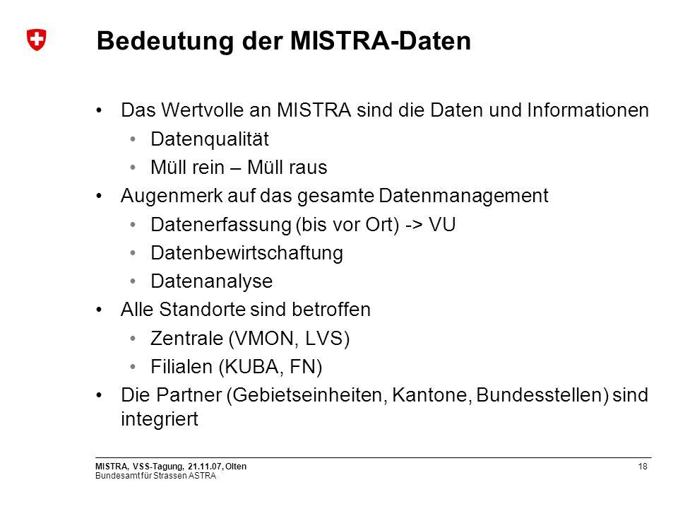 Bedeutung der MISTRA-Daten