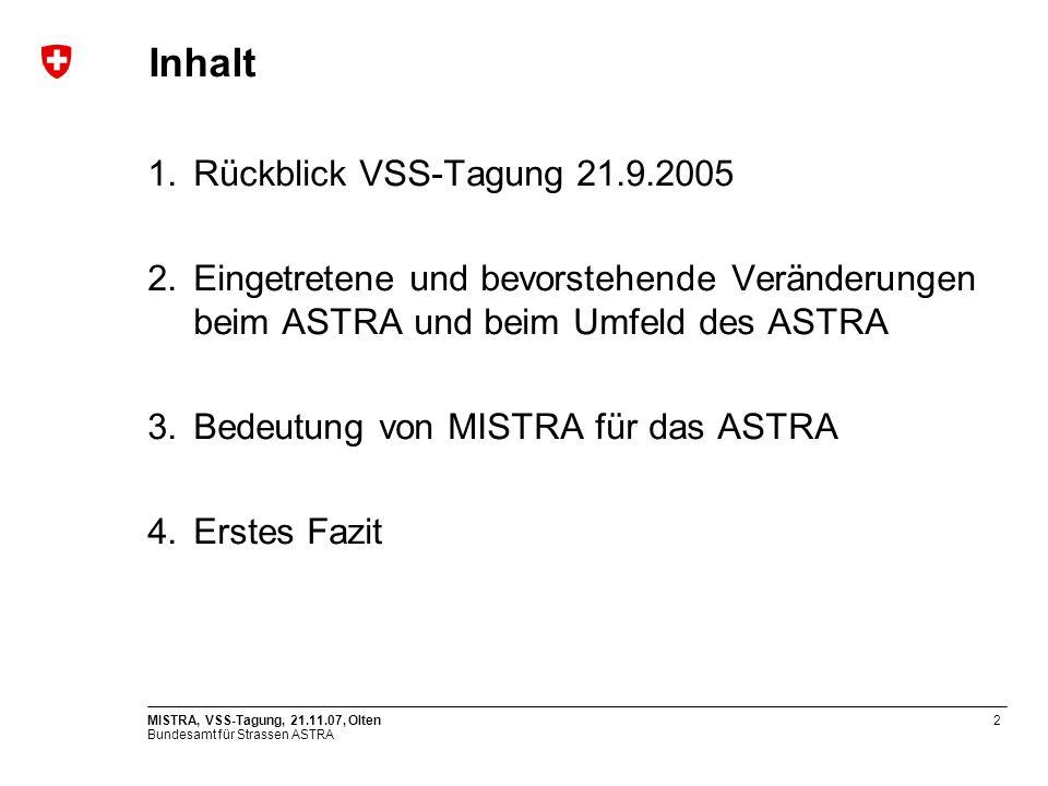 Inhalt Rückblick VSS-Tagung 21.9.2005