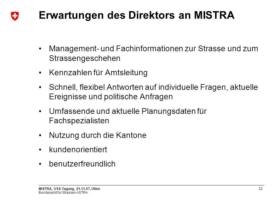 Erwartungen des Direktors an MISTRA