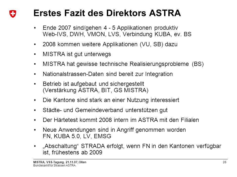 Erstes Fazit des Direktors ASTRA