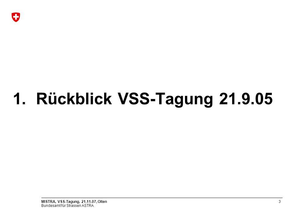 1. Rückblick VSS-Tagung 21.9.05 MISTRA, VSS-Tagung, 21.11.07, Olten