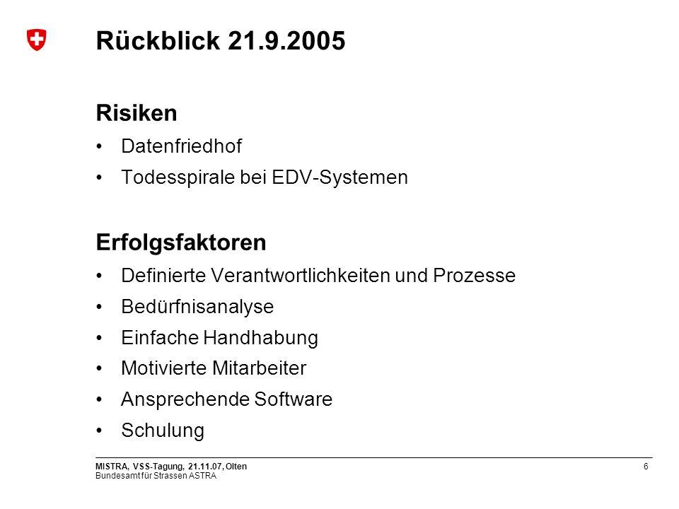 Rückblick 21.9.2005 Risiken Erfolgsfaktoren Datenfriedhof