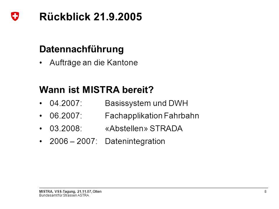 Rückblick 21.9.2005 Datennachführung Wann ist MISTRA bereit